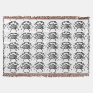 Vintage Crab Drawing Throw Blanket