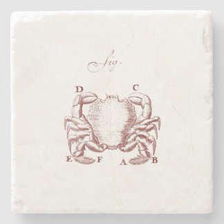 Vintage Crab Illistration Stone Coaster