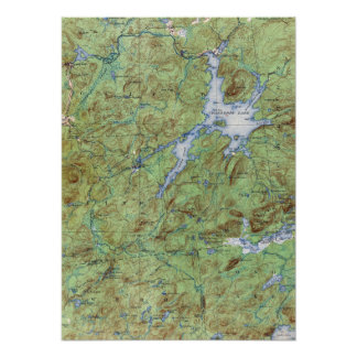 Vintage Cranberry Lake New York Topographical Map Poster
