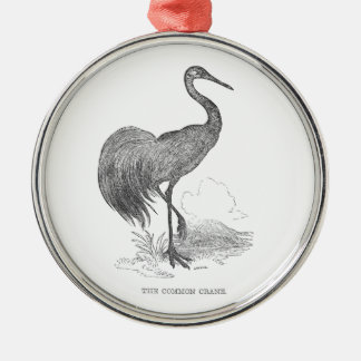 Vintage Crane Bird Pen and Ink Drawing Silver-Colored Round Decoration
