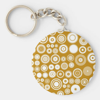 Vintage Cream and white Fifties Abstract Art Basic Round Button Key Ring