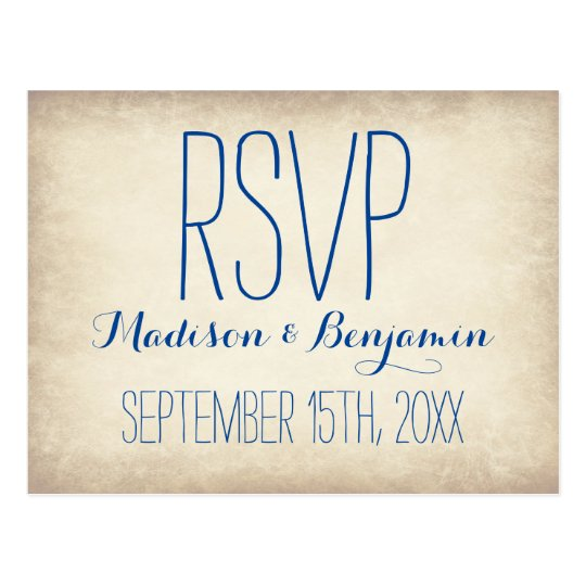 Vintage Cream Blue Rustic Wedding RSVP POSTCARDS