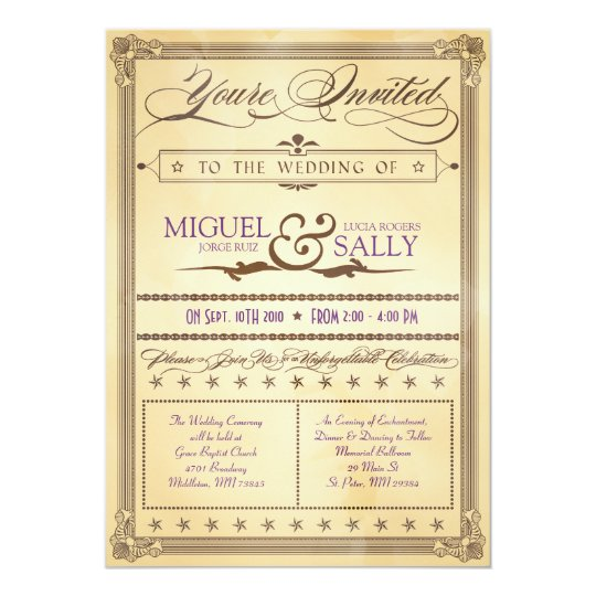 Vintage Cream & Brown Poster Wedding Invitation