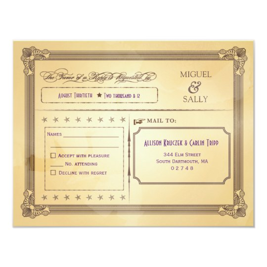 Vintage Cream & Brown Poster Wedding RSVP Card