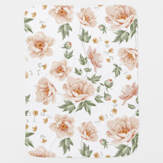 Vintage creamy orange spring floral pattern buggy blanket
