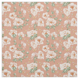 Vintage creamy orange spring flower pattern fabric