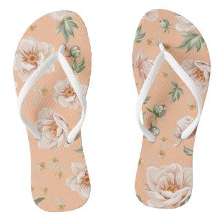 Vintage creamy spring flower pattern flip flops