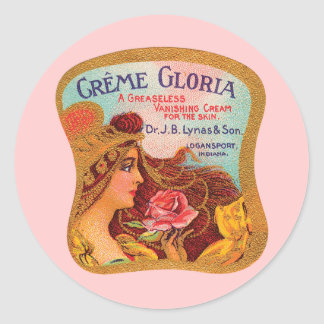 Vintage Creme Gloria Vanishing Skin Creme Round Sticker