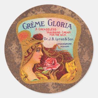 Vintage Creme Gloria Vanishing Skin Creme Classic Round Sticker