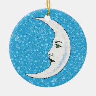Vintage Crescent White Moon Face White Stars Christmas Ornament