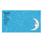 Vintage Crescent White Moon Face White Stars Pack Of Standard Business Cards