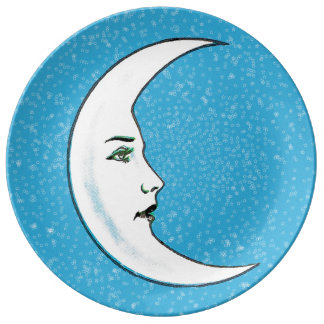 Vintage Crescent White Moon Face White Stars Plate