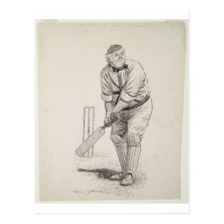 Vintage cricket player postcard