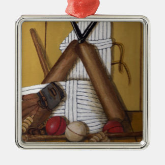 Vintage Cricket Silver-Colored Square Decoration
