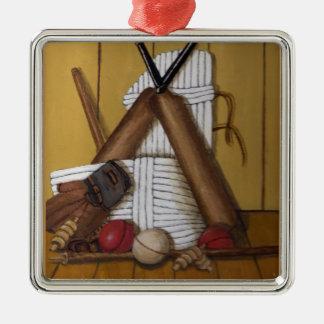 Vintage Cricket Silver-Colored Square Decoration