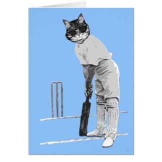vintage cricketing cat customisable card