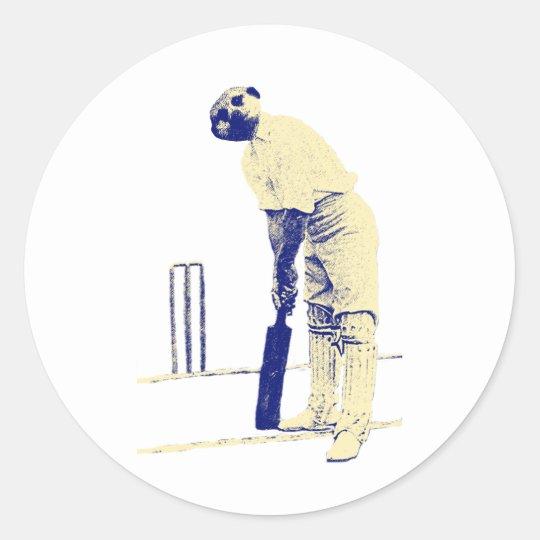 vintage cricketing meerkat. classic round sticker