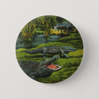 Vintage Crocodiles, Marine Life Reptiles Animals 6 Cm Round Badge