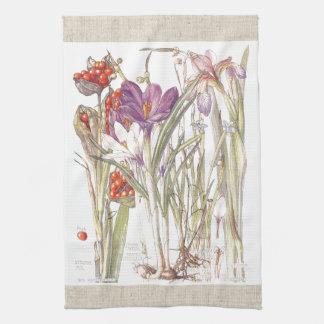 Vintage Crocus Iris Flowers Kitchen Towels