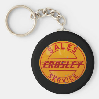 vintage crosley sales and service sign basic round button key ring