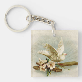 Vintage Cross And Dove Key Ring