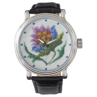 Vintage cross stitch embroidered flower watch
