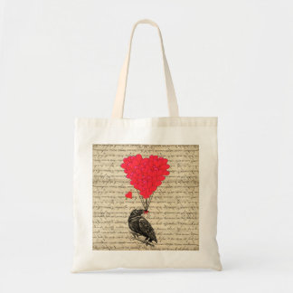 Vintage Crow and heart shaped balloons Canvas Bag