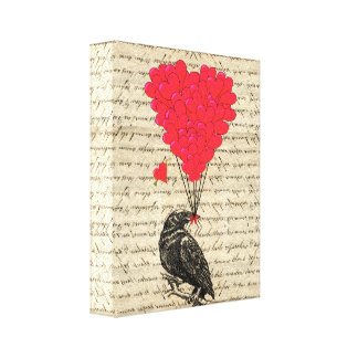 Vintage Crow and heart shaped balloons Canvas Print