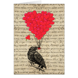 Vintage Crow and heart shaped balloons Card
