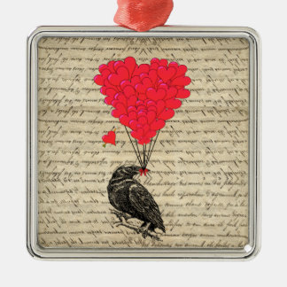 Vintage Crow and heart shaped balloons Christmas Ornament