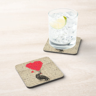 Vintage Crow and heart shaped balloons Coaster