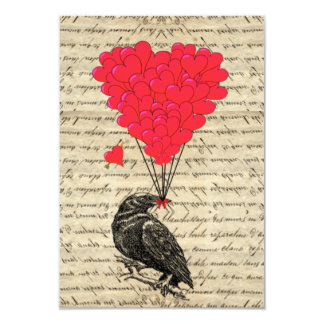 Vintage Crow and heart shaped balloons 9 Cm X 13 Cm Invitation Card