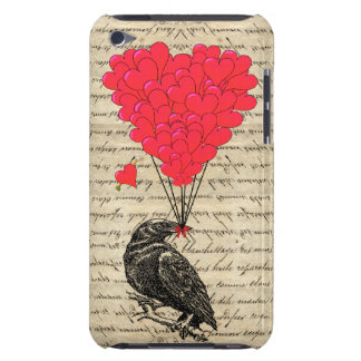 Vintage Crow and heart shaped balloons iPod Case-Mate Case