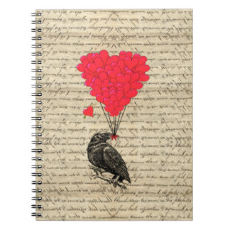 Vintage Crow and heart shaped balloons Notebooks