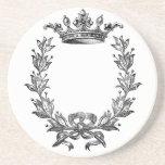 Vintage Crown and Wreath Art Beverage Coasters
