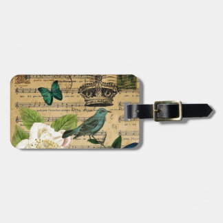 vintage crown bird Music Notes french botanical Luggage Tag