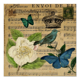vintage crown bird Music Notes white Rose Poster