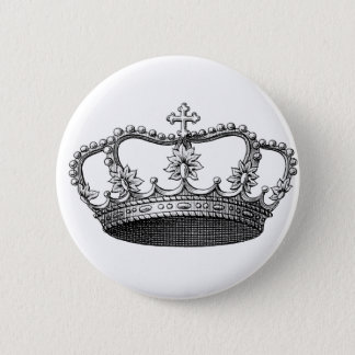 Vintage Crown Black and White 6 Cm Round Badge