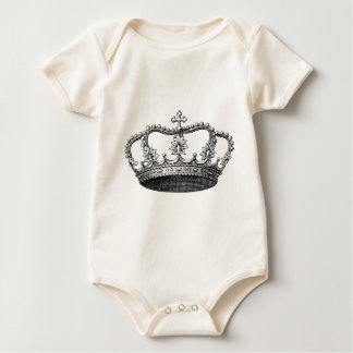 Vintage Crown Black and White Baby Bodysuit