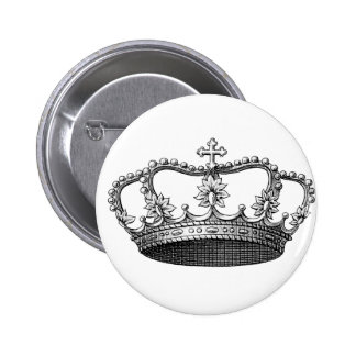 Vintage Crown Black and White Button
