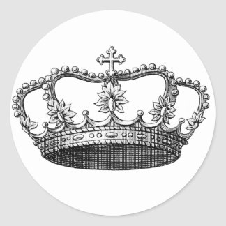 Vintage Crown Black and White Classic Round Sticker