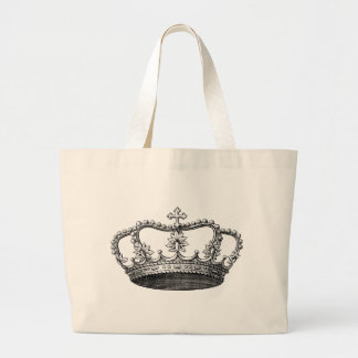Vintage Crown Black and White Large Tote Bag