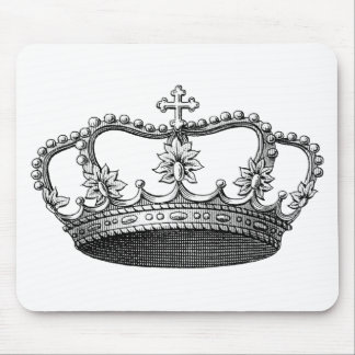 Vintage Crown Black and White Mouse Mat