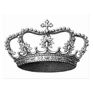 Vintage Crown Black and White Postcard