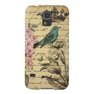 Vintage crown botanical art hydrangea french bird cases for galaxy s5