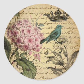 Vintage crown botanical art hydrangea french bird classic round sticker