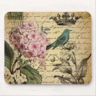 Vintage crown botanical art hydrangea french bird mouse pad