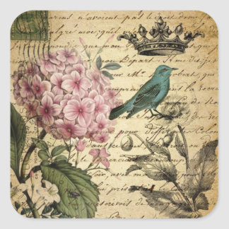 Vintage crown botanical art hydrangea french bird square sticker