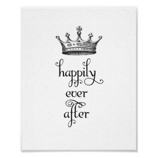 Vintage Crown Happily Ever After Art Print
