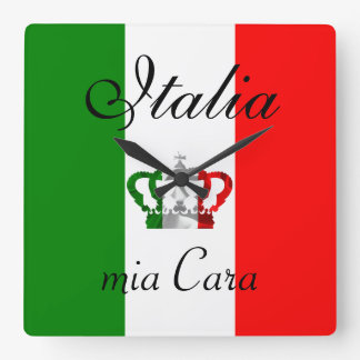 Vintage Crown Modern Italy Italian Flag Square Wall Clock